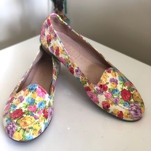 HISPANITAS Floral Leather Flats Loafers Sz 7 37
